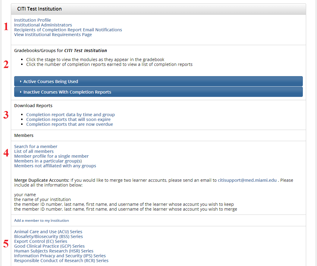 Admin Main Page